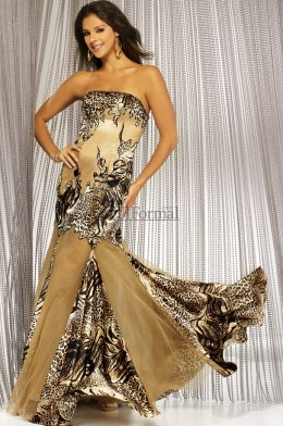 Animal printed long strapless Night Moves prom dress 2009 for prom night