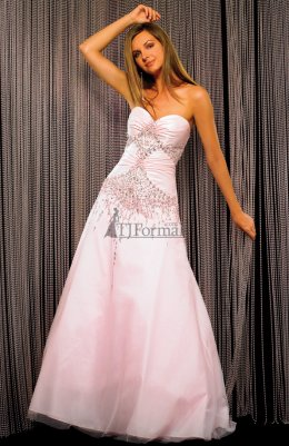 Light pink strapless Night Moves prom dress 2009 for prom night