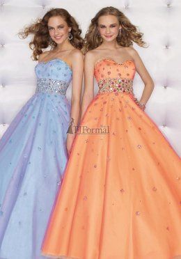 Light blue and light orange prom ball dresses 2009 for prom night