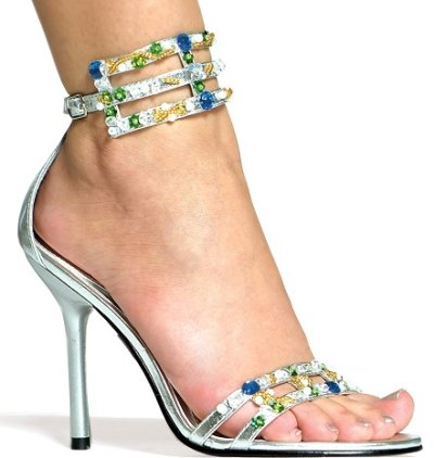 silver prom shoes with blue, green and gold rhinestones