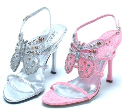 silver prom shoes with butterfly decoration
