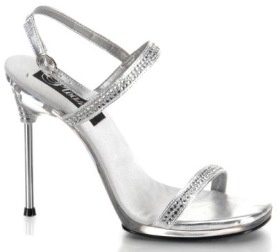 Rhinestone silver prom shoes
