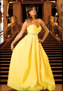 long yellow wedding dress
