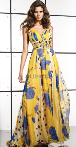 Lovely yellow porm gown with blue flowers for your prom night 2009