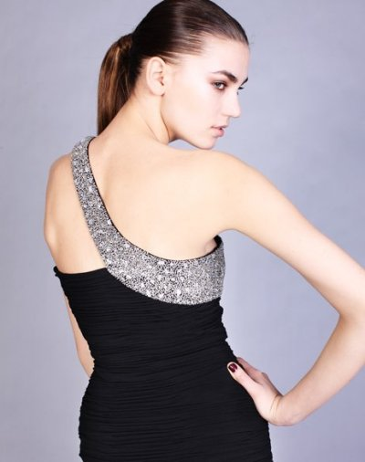 Elegant short black prom dress with silver shoulder. Jovani Prom Dresses