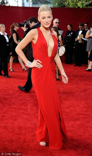blake lively emmys prom dress ideas. Blake Lively in sexy long red prom
