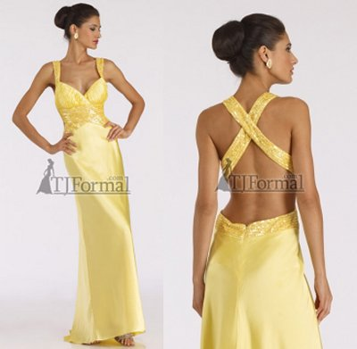 cheap prom dresses 2010 - yellow dress. Long prom dress by Dave and Johnny