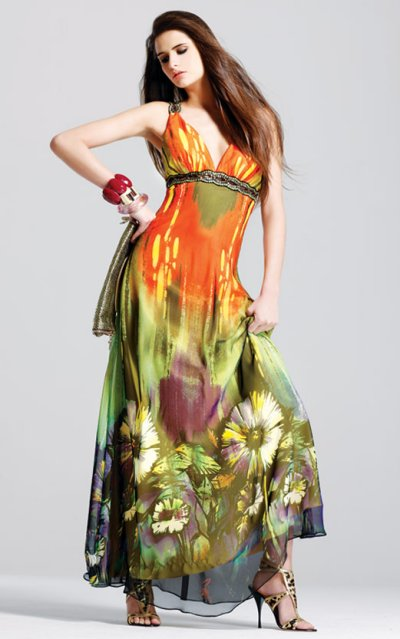 faviana prom dresses 2010 - floral printed prom dress
