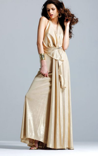 faviana prom dresses 2010 - gold prom dress