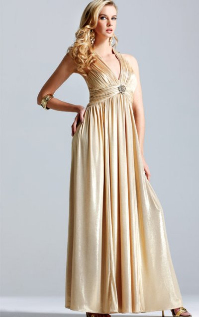faviana prom dresses 2010 - long gold prom dress