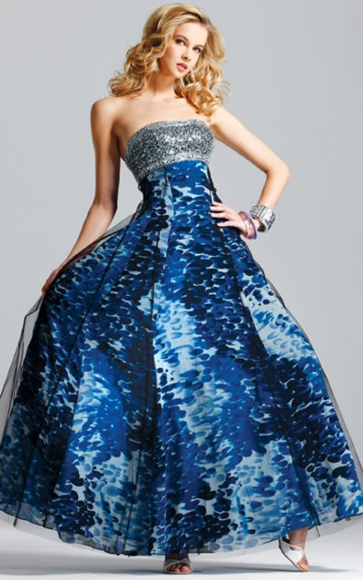 faviana prom dresses 2010 - strapless blue prom dress