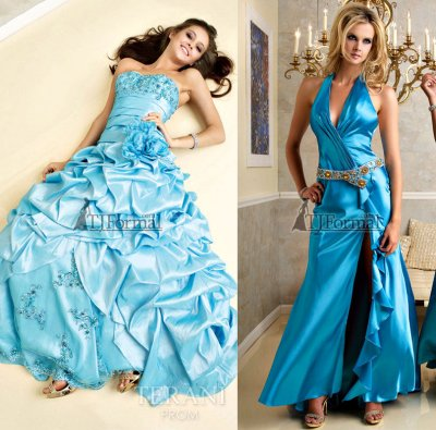 Long blue prom dresses by Terani 2010