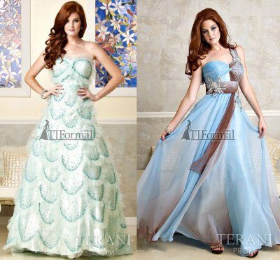 Blue prom gowns 2010 by Terani prom collection