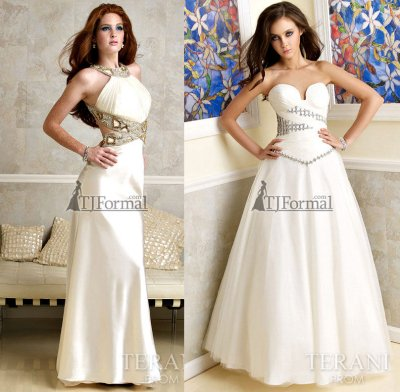 White prom dress, and white prom gown 2010 by terani
