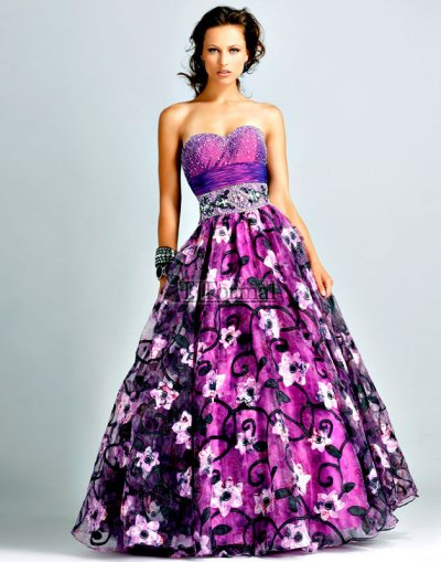 prom dress patterns. flower prin prom dress 2010
