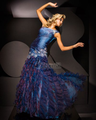 blue long prom dress by tony bowls