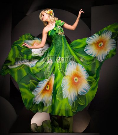 green long prom dress by tony bowls