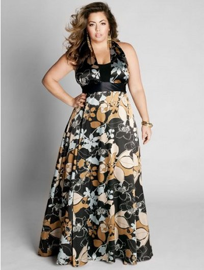 Floral printed plus size prom dress 2010