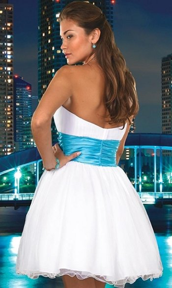 Beautiful short strapless prom dress 2010 in white color with blue waste