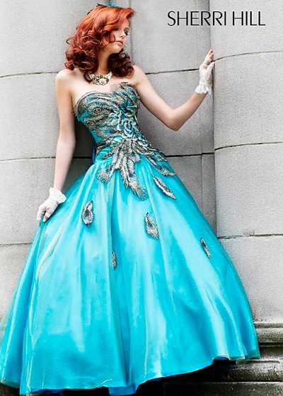 blue ball gown sheri hill 2010