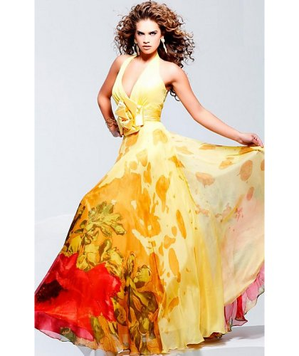 long yellow orange prom dress 2010