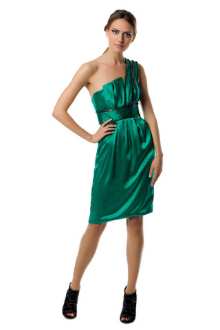 green one sholder Carlos Miele prom dress 2011