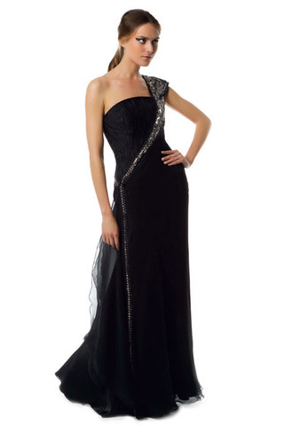 Black  White Lace Dress on Stunning Grecian Goddess Style Prom Dress 2011     One Shoulder Bodice