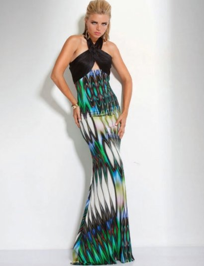 Beautiful long marbeling printed prom dress with green, blue and black