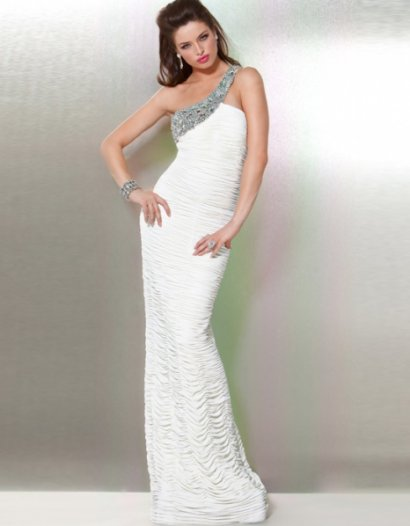 one shoulder white prom dress 2011