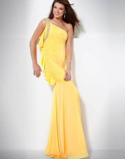 Beautiful long rhinestone yellow prom dresses 2011 by Jovani