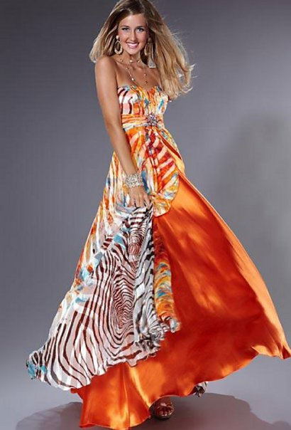 Zebra And Orange Prom Dresses 29