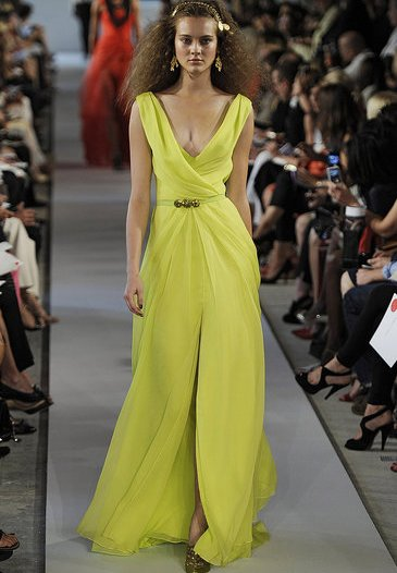 long greenish prom dress 2012 oscar de la renta