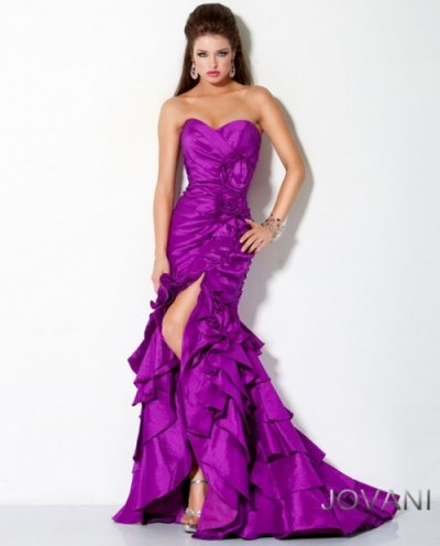 Backless Dress on Long Strapless Purple Prom Dress 2012 With Ruching  Ruffles And