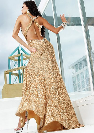 sequined gold prom dress 2012