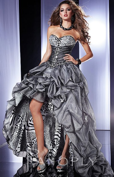 Silver High-Low Animal Print Prom Dress 2012