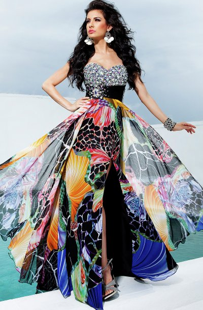strapless flower print prom dress 2012