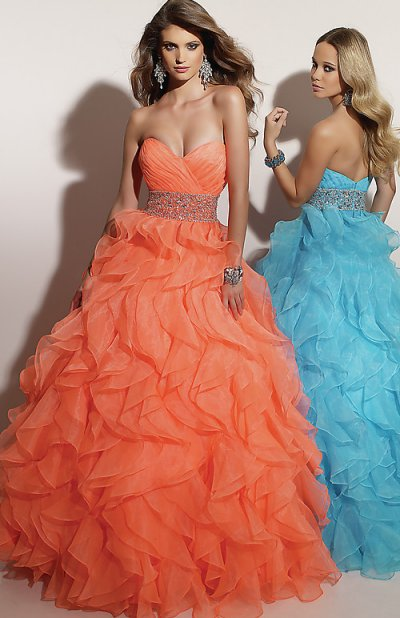 Strapless Orange Prom Ball Dress 2012