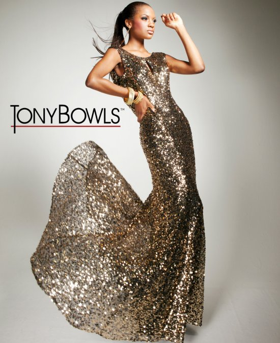 Gold Sequined Long Prom Dresses 2013 By Tony Bowls | Prom Night Styles