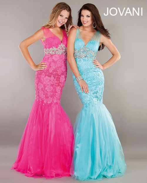 sexy pink and blue lace prom dresses 2013