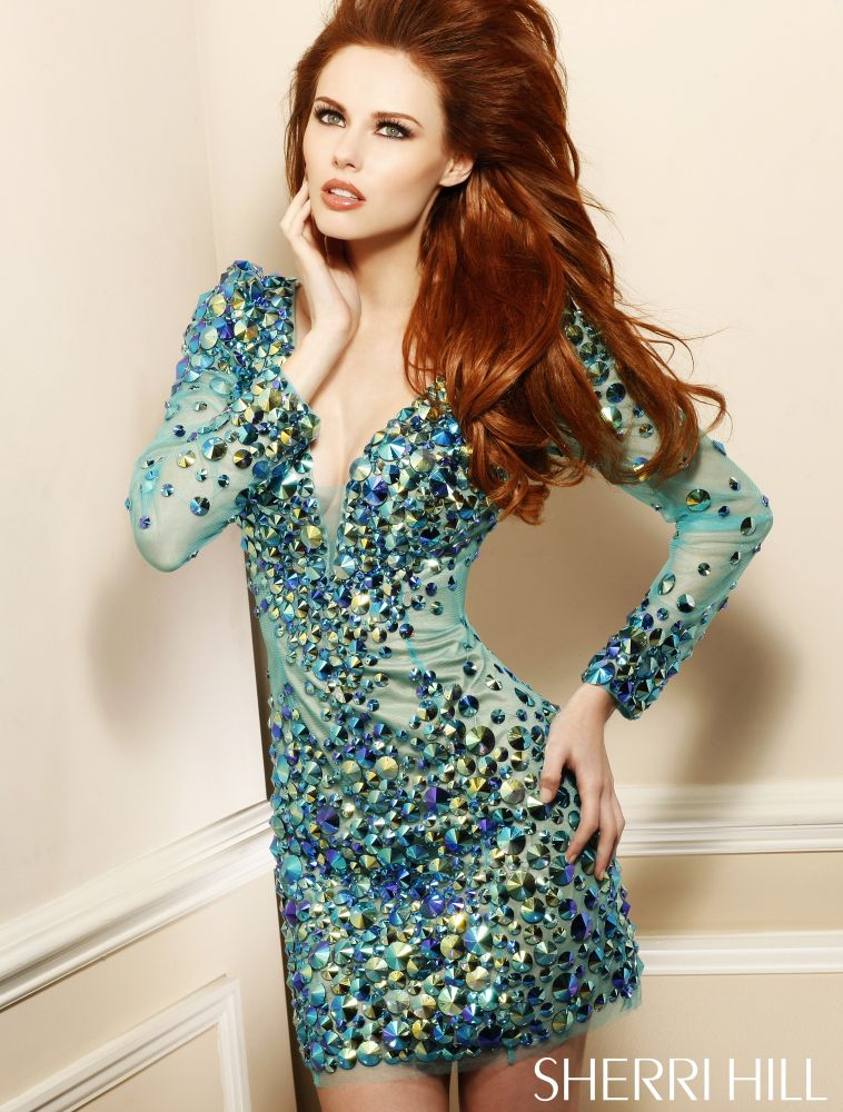 2946 short blue prom dress with long sleeves 2013