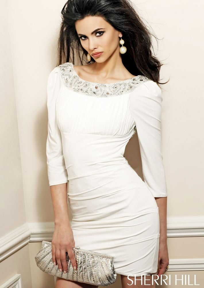 white short prom dress with sleeves 2013
