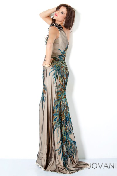 111054-one shoulder peacock print prom dress 2013-