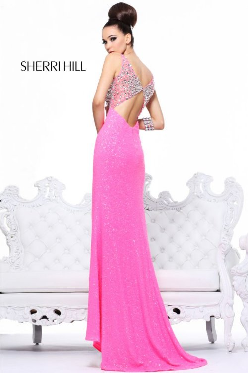 21043-sequin prom dress in pink 2013 with open back