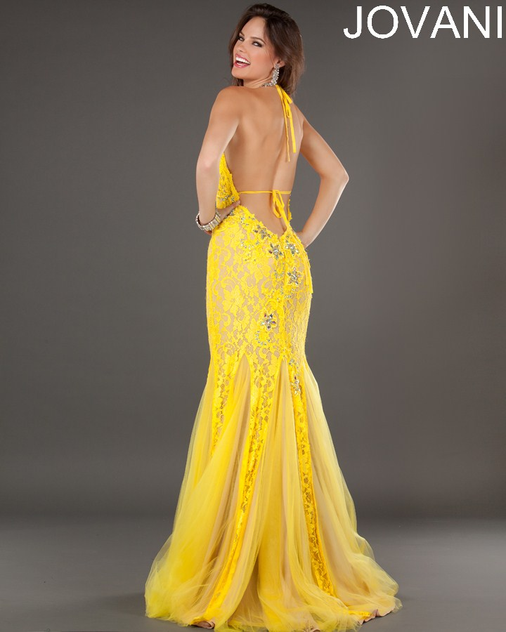 73125_halter yellow lace prom dress 2013 with open back