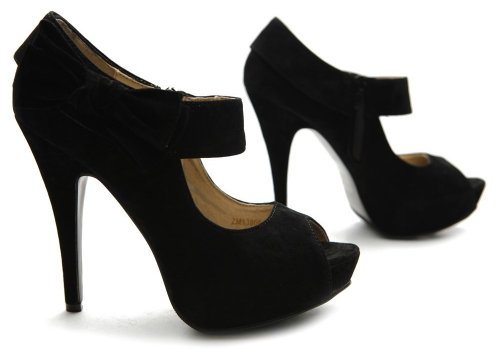 black suede prom pumps 2013 with open toe and side ribbon from Ollio