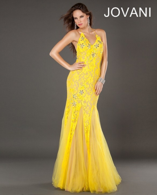 halter mermaid yellow prom dress 2013 with open back