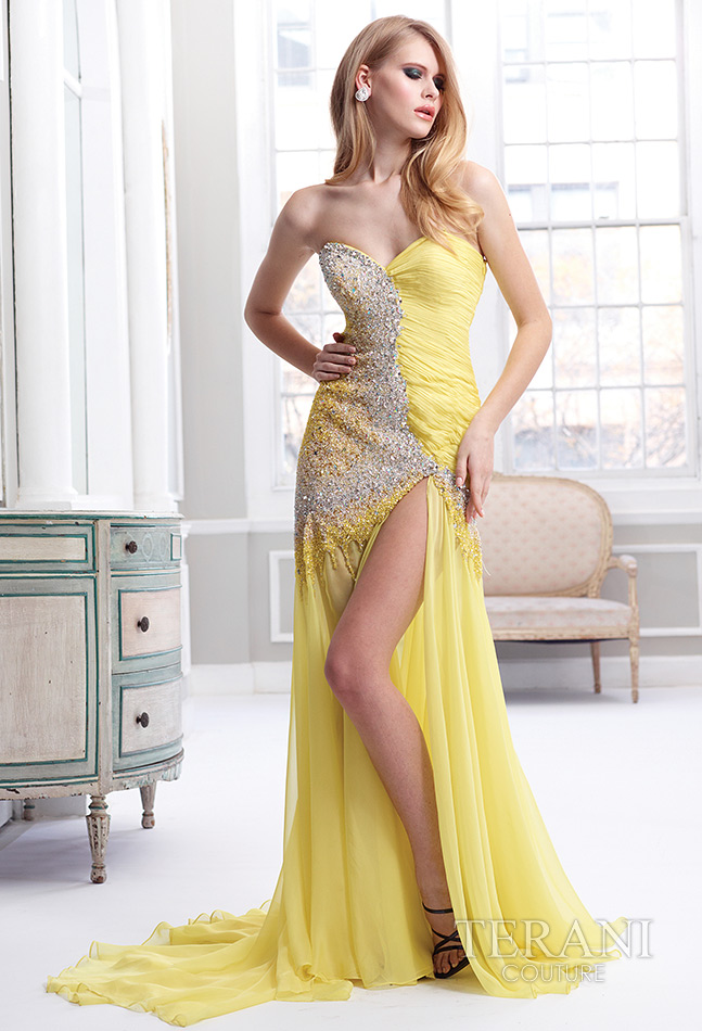 sexy long yellow prom dress 2013 by night moves GL1794