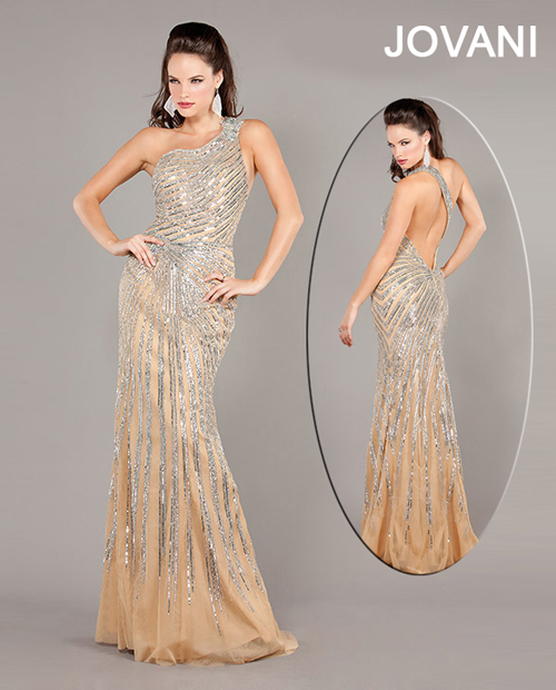 sexy one shoulder sequin prom dress 2013 with open back
