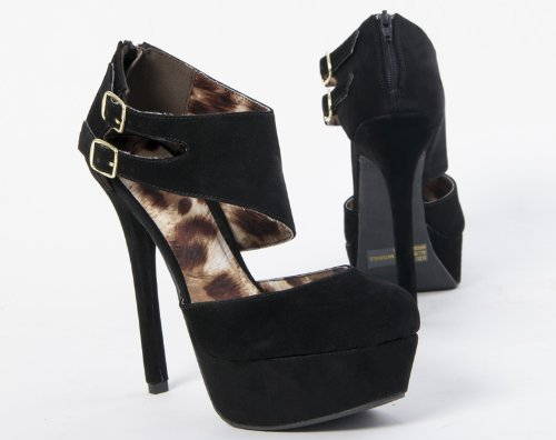 suede black prom shoes 2013 with side buckles from Qupid