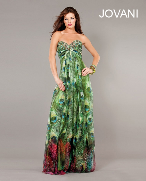 2731-long strapless green peacock prom dress 2013